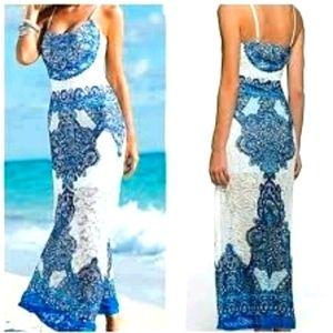 Size xs Venus Blue White Lace 3/4 or Maxi Dress